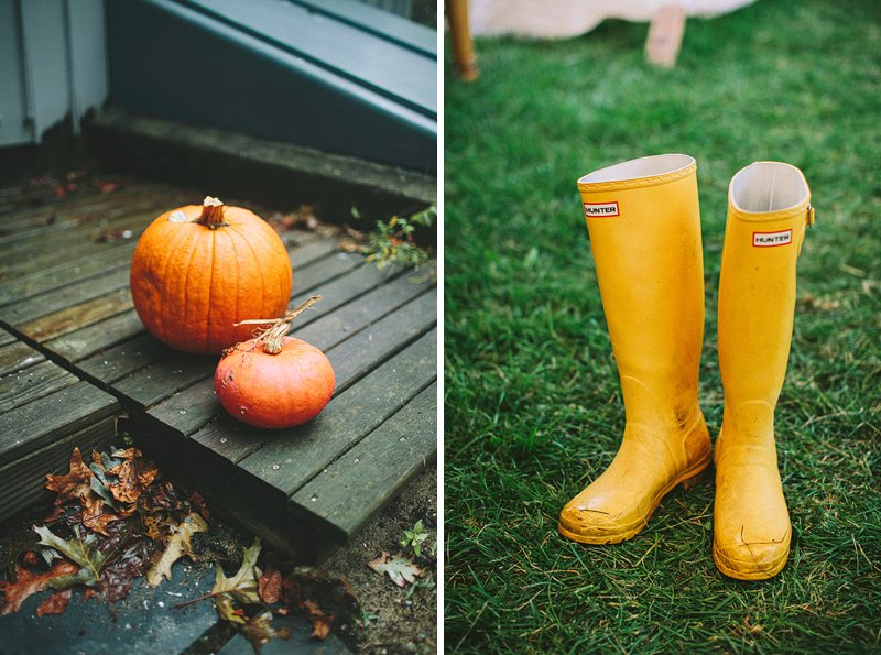 fall wedding hunter boots bride