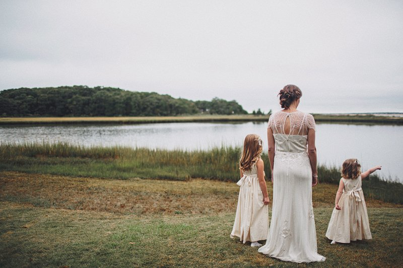 bride with flower girls hamptons