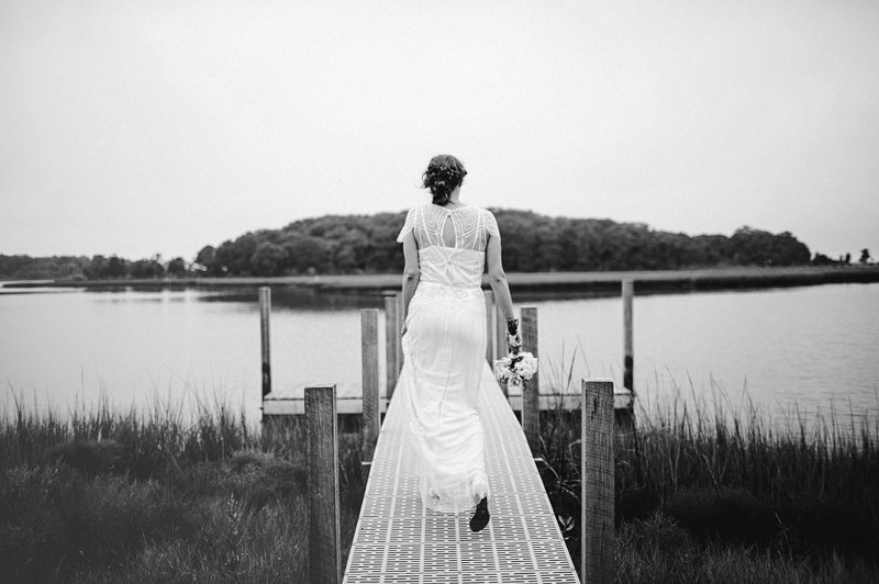bride on pier hamptons