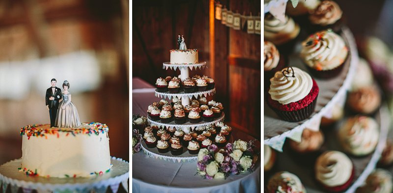 cupcakes and wedding cake at tralee farm wedding