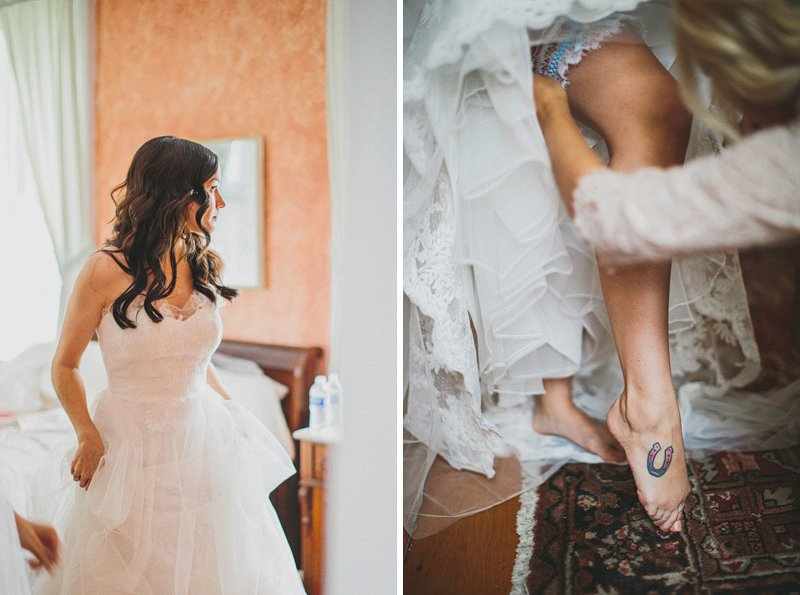 A bride puts on her garter in Tralee Farm NY
