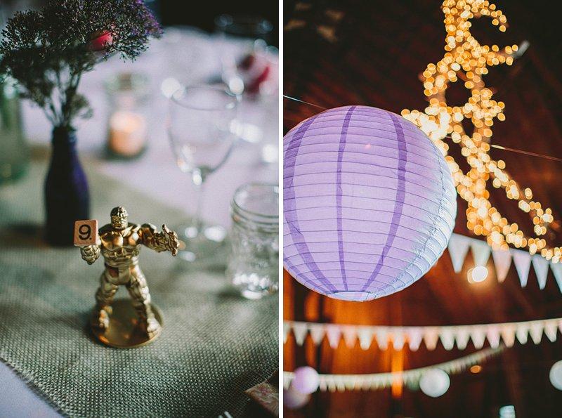 reception details at tralee farm wedding