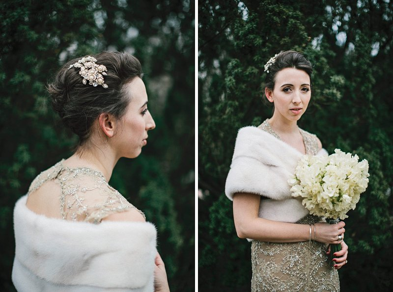 bride with wool shawl and hairpiece
