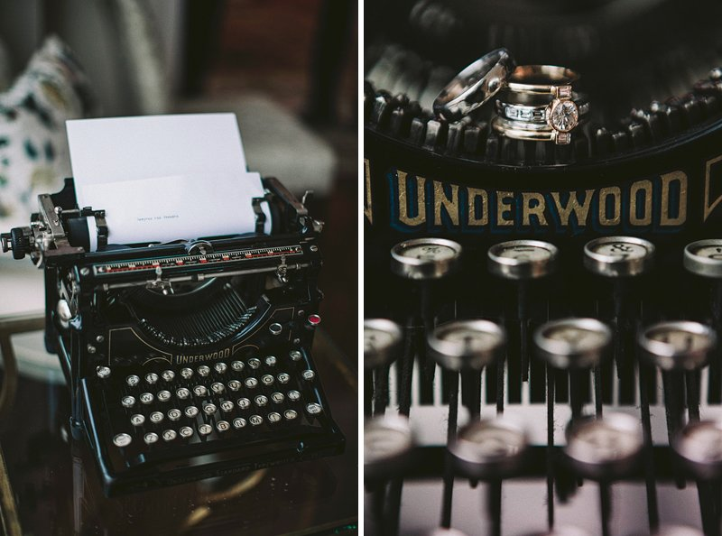 underwood vintage typewriter wedding ring