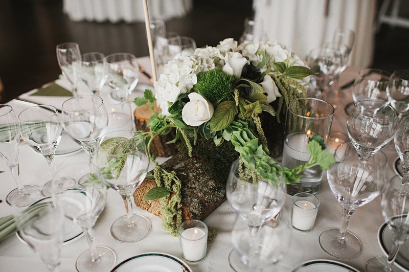 rustic woodsy table settings wedding