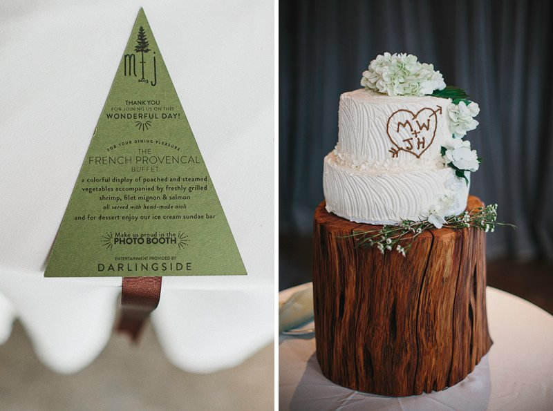 rustic woodsy table settings wedding 3