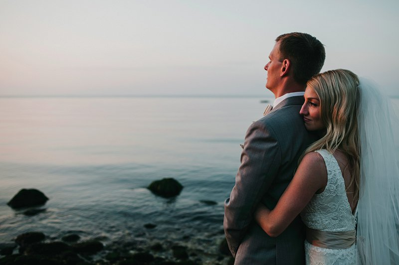 orient point beach wedding sunset