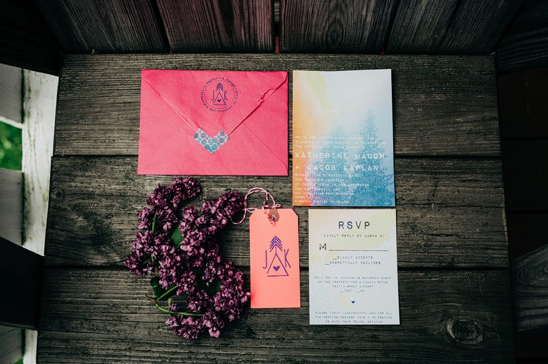 pink and blue custom wedding invitation