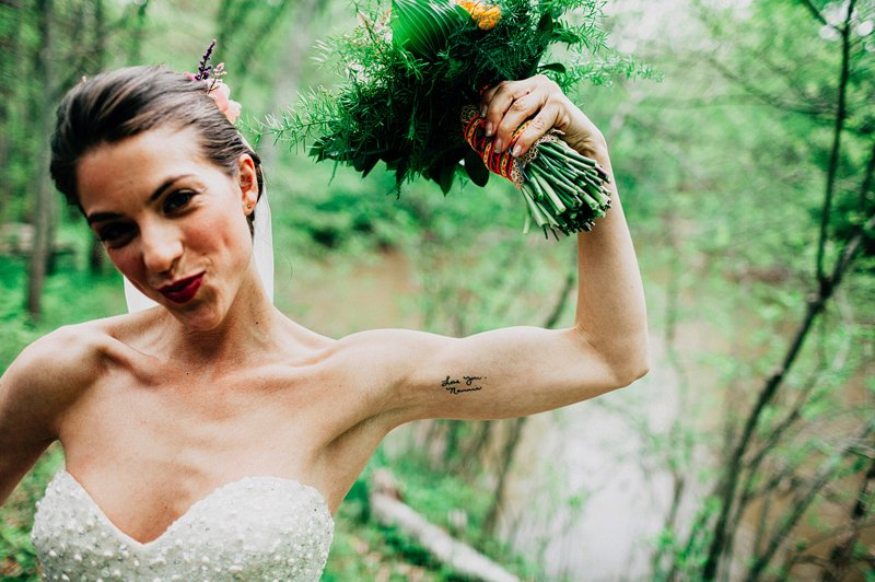 tattoo bride catskills farm wedding