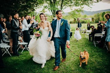 bride and groom with dog hudson valley wedding