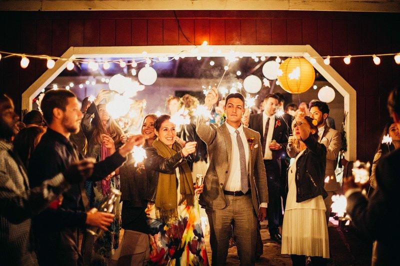 sparklers at wedding hudson valley farm