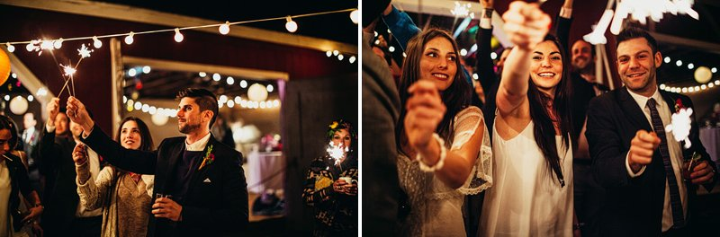 sparklers at wedding hudson valley farm 2