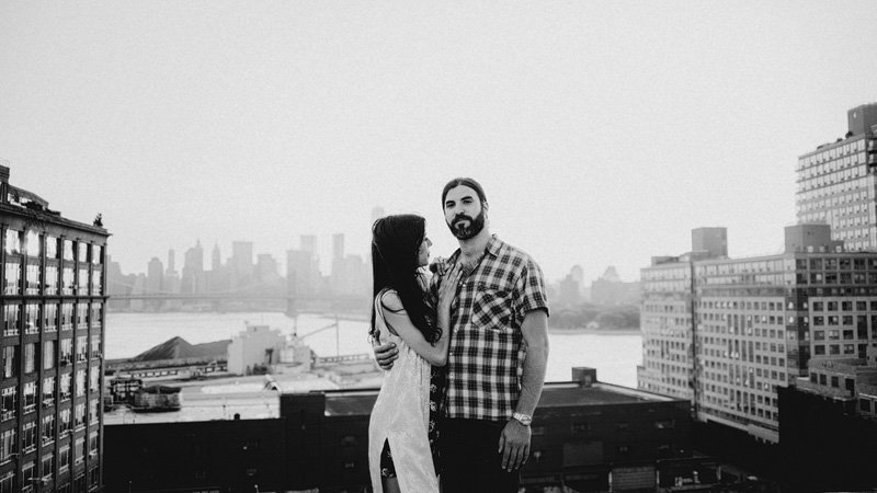 Bohemian rooftop engagement session