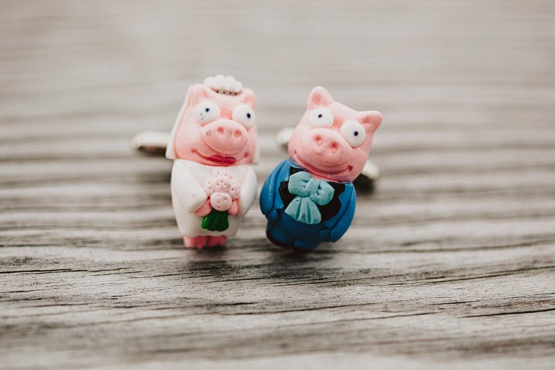 custom pig cufflinks groom