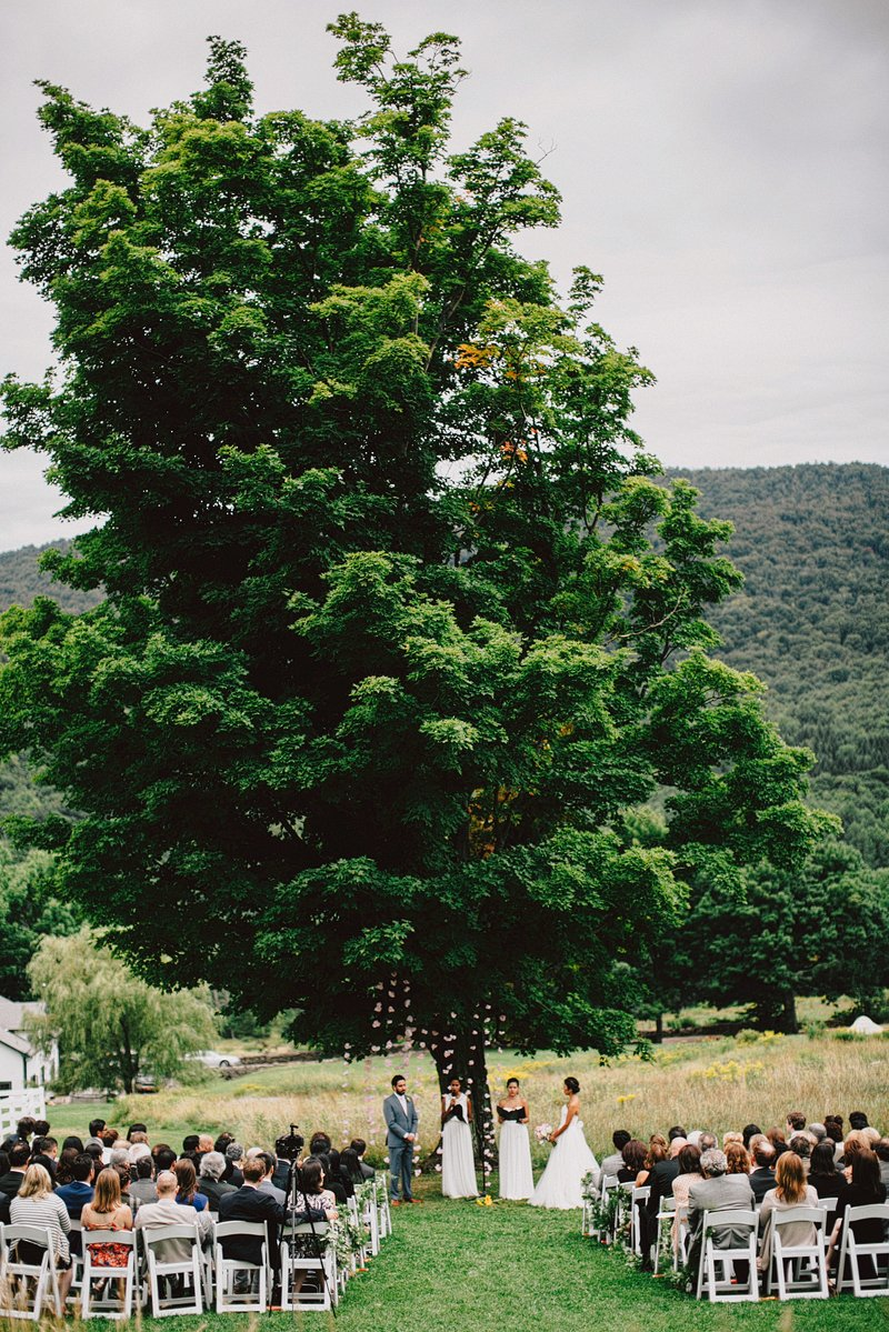 wedding ceremony under big tree catskills
