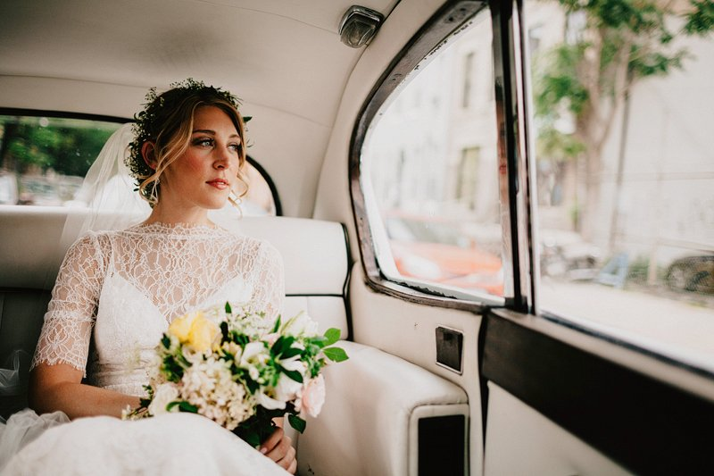 bride in rolls royce