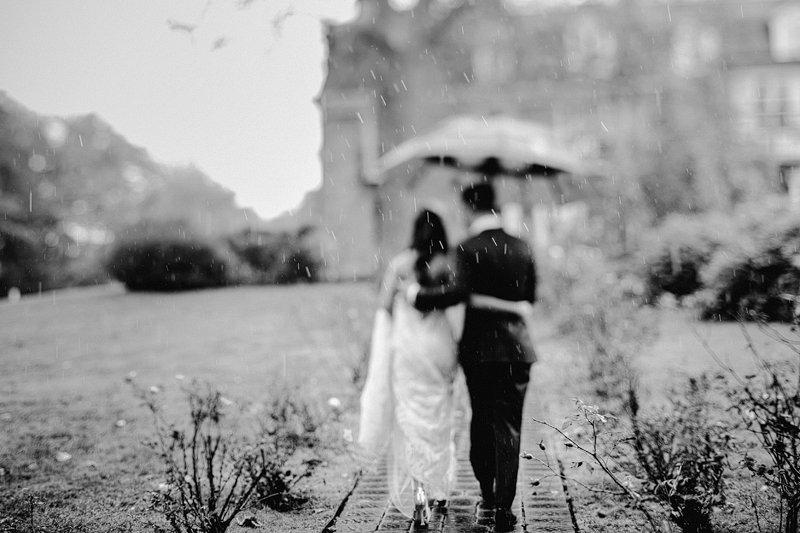 wedding day rain umbrella