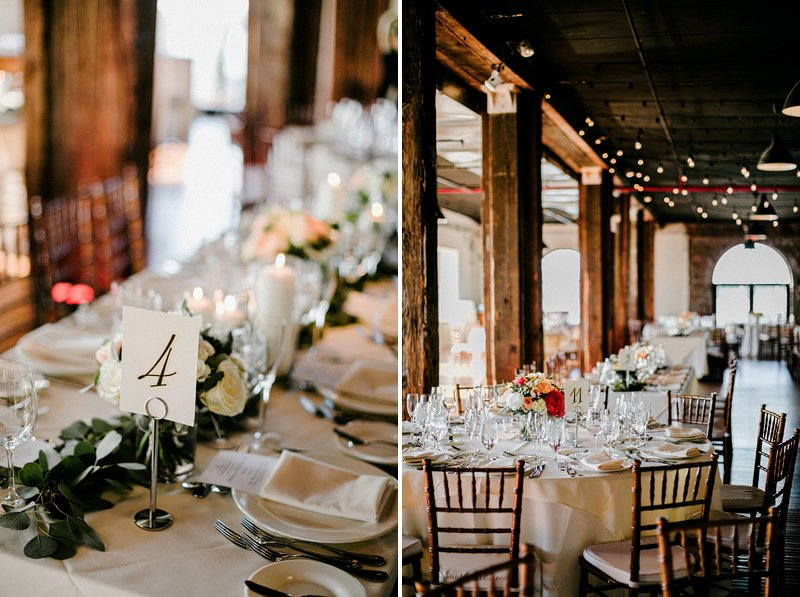 table setup in liberty warehouse wedding reception