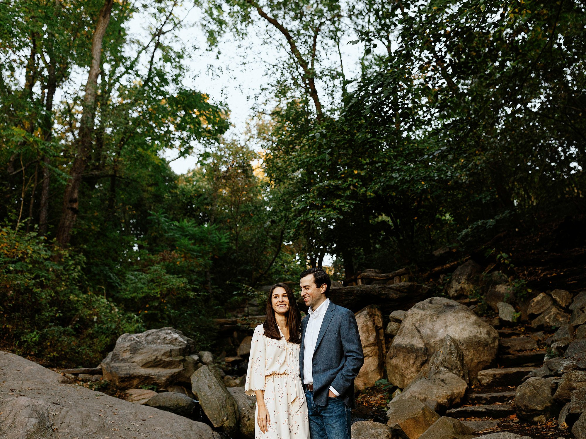 central park engagement session bride and groom